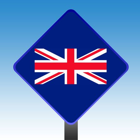 Union Jack flag road sign with copy space and sky background. photo