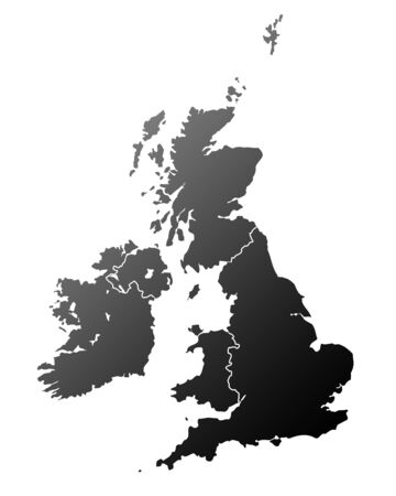 Silhouetted map of United Kingdom and Ireland, isolated on white background. Standard-Bild