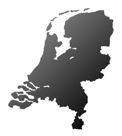 silhouetted: Silhouetted Netherlands map isolated on white background. Stock Photo