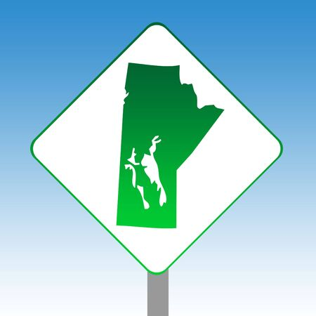 manitoba: Canadian state of Manitoba map road sign in green isolated on white with blue sky background. Stock Photo