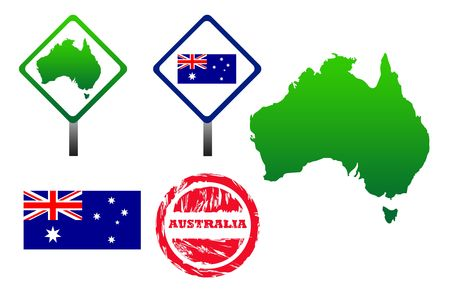 Australia icons set with map, flag, sign and stamp, isolated on white background. photo