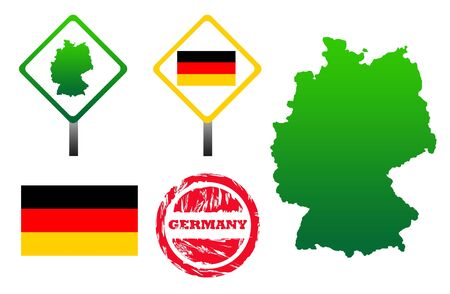 Germany  icons set with map, flag, sign and stamp, isolated on white background. photo