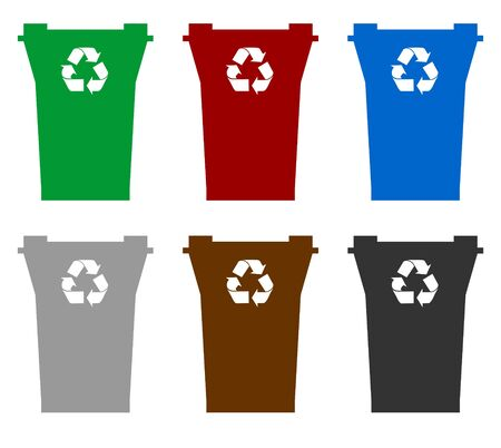 Illustration of six recycling bins in different colors to represent allowed contents, isolated on white background.