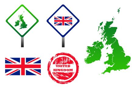 United Kingdom icons set with map, flag, sign and stamp, isolated on white background. Stock Photo - 6642380