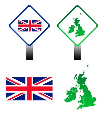 Set of four signs and maps of United Kingdom, isolated on white background. photo