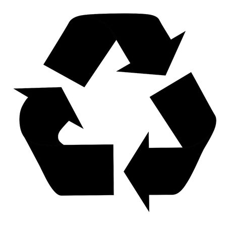 silhouetted: Black silhouetted recycling symbol isolated on white background.