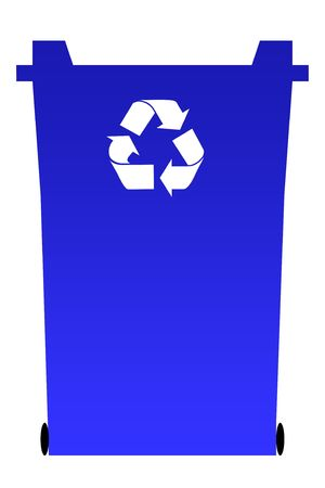 Blue recycling rubbish bin isolated on white background. photo