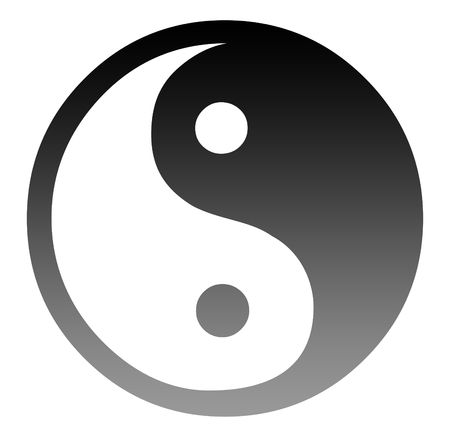 taoist: Silhouetted Yin and Yang symbol isolated on white background.