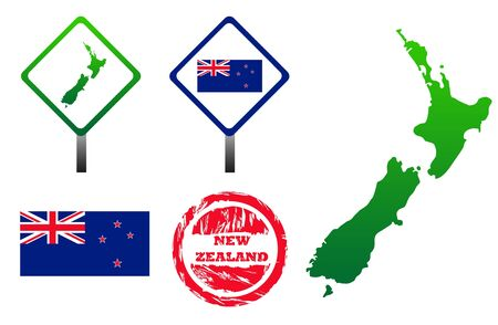 New Zealand icons set with map, flag, sign and stamp, isolated on white background. photo