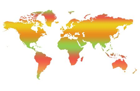 isolatd: Colorful two dimensional map of World, isolatd on white background. Stock Photo