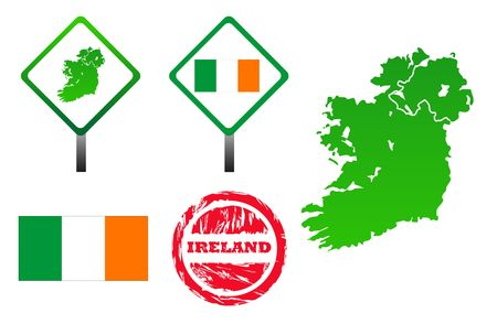 eire: Ireland icons set with map, flag, sign and stamp, isolated on white background.