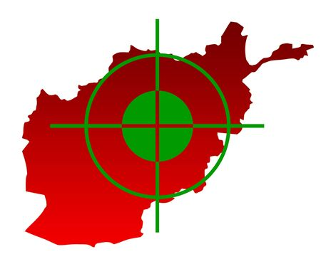top gun: Gun sight over top of map of Afghanistan isolated on a white background.