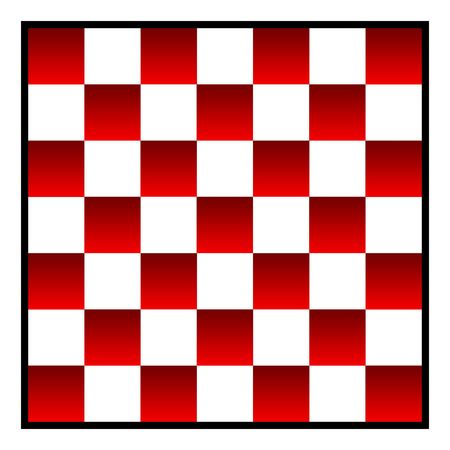 re: Re and white patterned checkers of draughts board, isolated on white background.