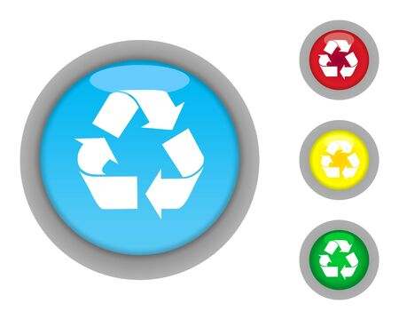 Set of four colorful glossy recycling button icons with light effect isolated on white background. photo