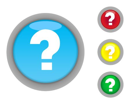 Set of four colorful glossy question mark button icons with light effect isolated on white background. photo