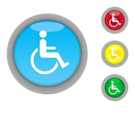 infirm: Set of four colorful glossy disabled button icons with light effect isolated on white background.