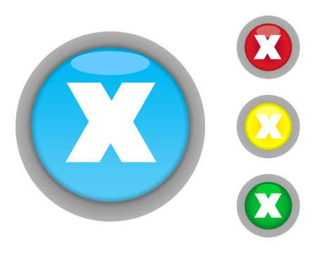 Set of four colorful glossy crossed button icons with light effect isolated on white background. photo