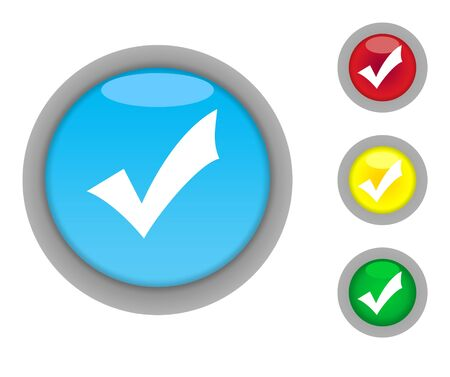 Set of four colorful glossy button tick or check mark icons with light effect isolated on white background.