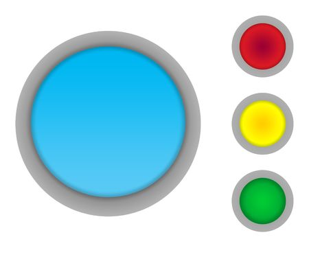 Set of four colorful glossy button icons isolated on white background with copy space photo
