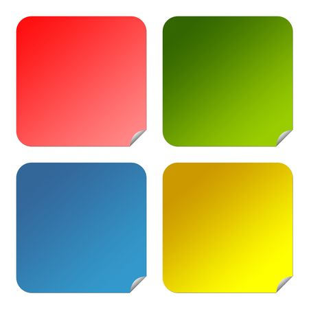 Set of colorful glossy square buttons with copy space isolated on white background. Stock Photo - 6685952