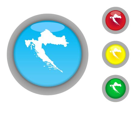 Set of four colorful glossy Croatia map button icons with light effect isolated on white background. photo
