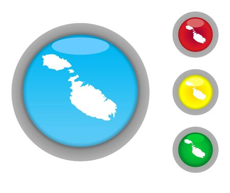 maltese map: Set of four colorful glossy Malta map button icons with light effect isolated on white background.