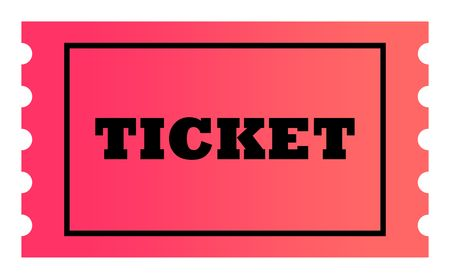Ticket with copy space isolated on white background. photo