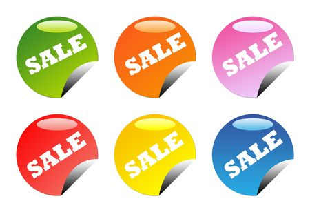 Set of six glossy, circular web sale button icons, isolated on white background with copy space. Stock Photo - 6726181