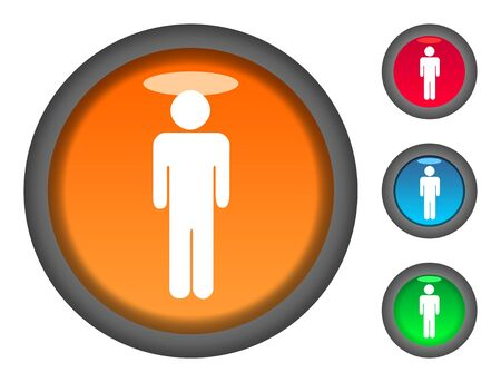 masculinity: Set of male shaped colorful circular button icons, isolated on white background.