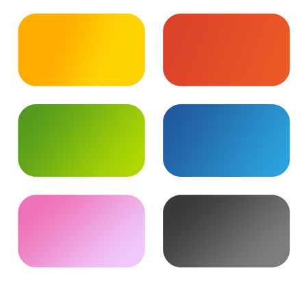 Set of six glossy aqua buttons with copy space, isolated on white background. Stock Photo - 6726111