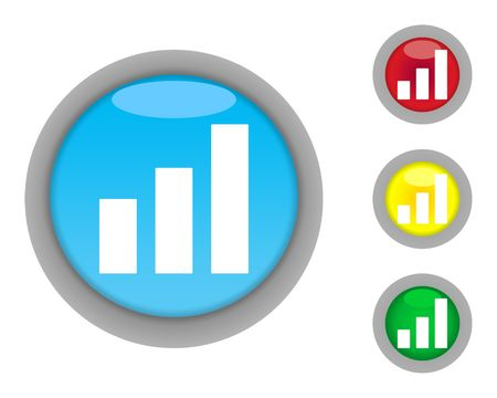 taller: Set of increasing business graph buttons isolated on white background.