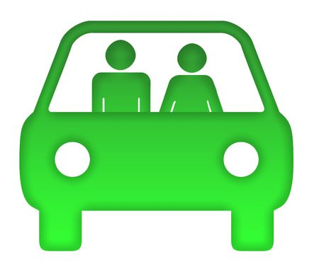 commuting: Couple in green eco motor car silhouette, isolated on white background. Stock Photo