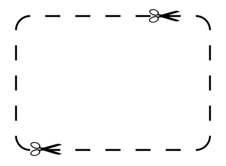 Bordure de coupon ou bon vide isolé sur fond blanc avec espace copie.