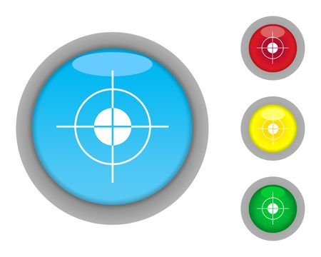 Set of four glossy target button icons with light effect isolated on white background. photo