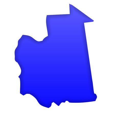 mauritania: Mauritania map in blue