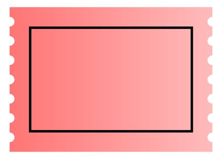 Blank pink ticket template with copy space, isolated on white background. photo