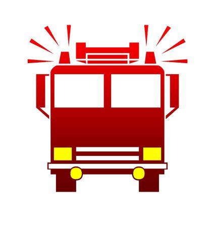 motor ardiendo: Silueta de bomberos o cami�n con sirenas atronador, aislado sobre fondo blanco.  Foto de archivo