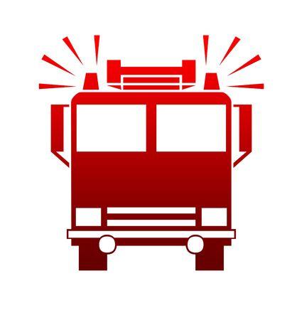 voiture de pompiers: Silhouette de pompiers ou camion avec sir�nes blaring, isol� sur fond blanc.  Banque d'images