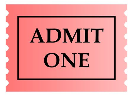 Admit one pink ticket template with copy space, isolated on white background. photo