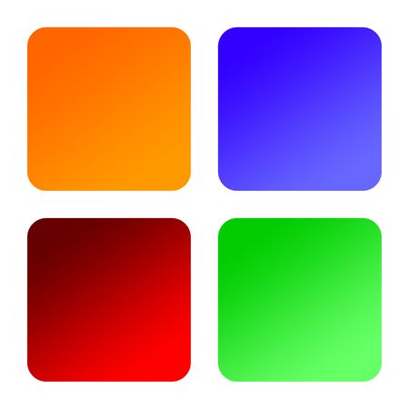Four blank square labels with rounded corners, isolated on white background. Stock Photo - 6779015