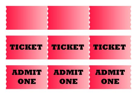 Rows of cinema or movie tickets isolated on white background with copy space. photo