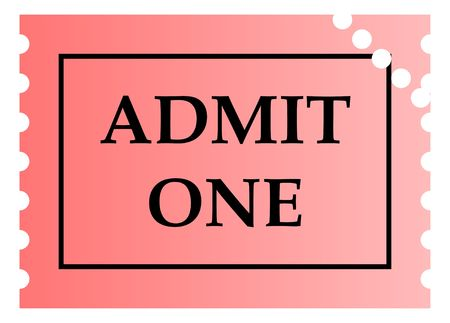 admit one: Admit one pink ticket template with copy space, isolated on white background.
