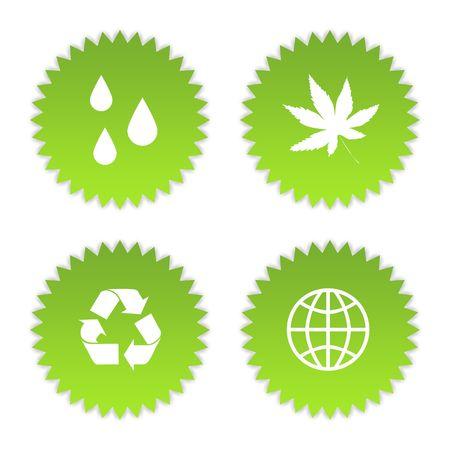 Set of four green eco symbols, isolated on white background. Stock Photo - 6779055