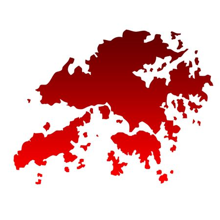 relief maps: Map of Hong Kong islands in gradient red isolated on white background.