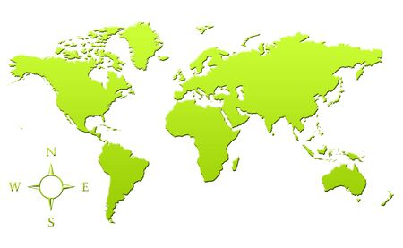 Green gradient map of Planet Earth or World in 3d, isolated on white background. Stock Photo - 6779073