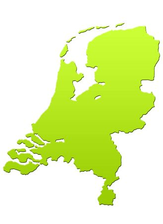 Netherlands map in green, isolated on white background. Stock Photo - 6779083