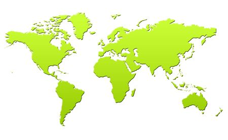 Green gradient map of Planet Earth or World in 3d, isolated on white background. Stock Photo - 6779078