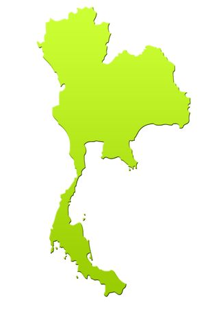 Thailand map in green, isolated on white background. Stock Photo - 6779075