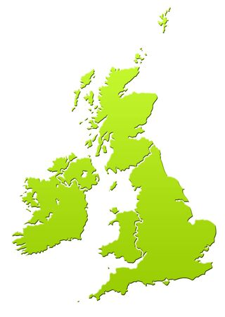 United Kingdom and Ireland map in green, isolated on white background. Stock Photo - 6779080