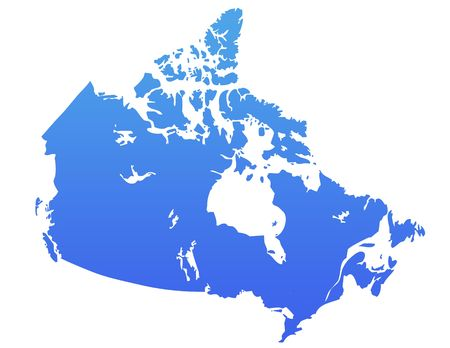 Canada map in gradient blue, isolated on white background. photo